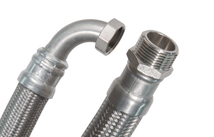 """SFX® Flexschlauch DN40 - 1 1/2"""" AG x 1 1/2"""" ÜM - 90°Bogen - 10bar - 100°C - Solar - Edelstahl Panzerschlauch Trinkwasser"""
