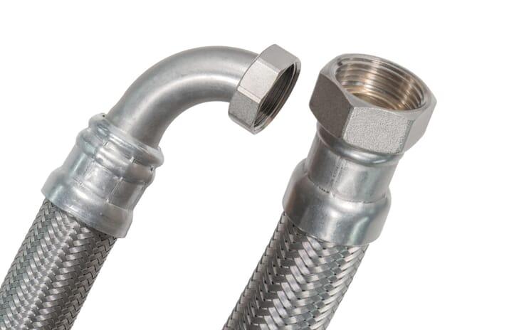 """SFX® Panzerschlauch DN40 - 1 1/2"""" ÜM x 1 1/2"""" ÜM - 90°Bogen - 10bar - 100°C - Solar - Edelstahl Flexschlauch Trinkwasser"""