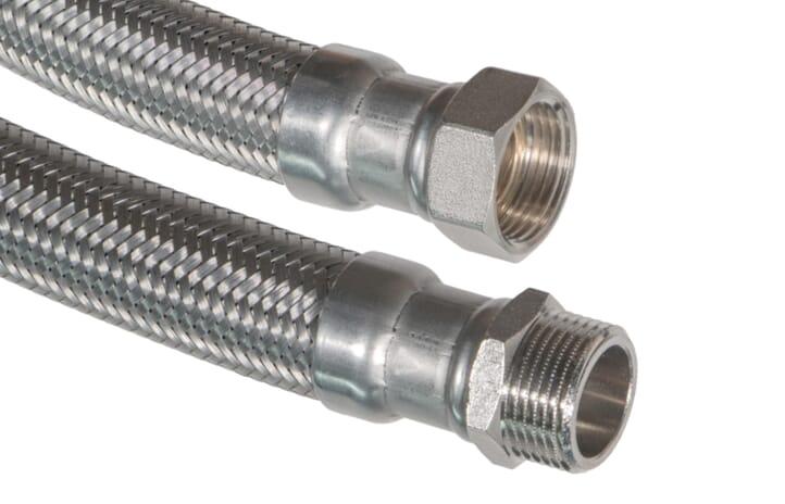 """SFX® Flexschlauch DN32 - 1 1/4""""ÜM x 1 1/4""""AG - 10bar - 90°C - Sanitär -  Edelstahl Panzerschlauch Trinkwasser"""