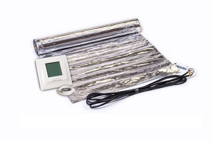 SFX® Fußbodenheizung elektrisch 150Watt/m²  Set aus Heizmatte  & Thermostat Aluminium-Matte 1,0m² - 15,0m² Flachheizung