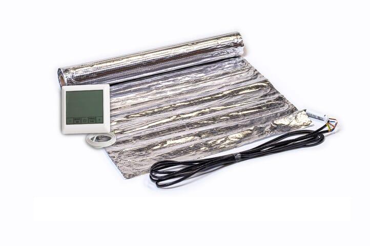 SFX® Fußbodenheizung elektrisch 150Watt/m²  Set aus Heizmatte  & Touchregler Aluminium-Matte 1,0m² - 15,0m² Flachheizung