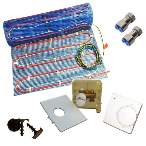 SFX® Fußbodenheizung 2,5 - 10m² Warmwasser / Elektro Duo Variant mit Regler