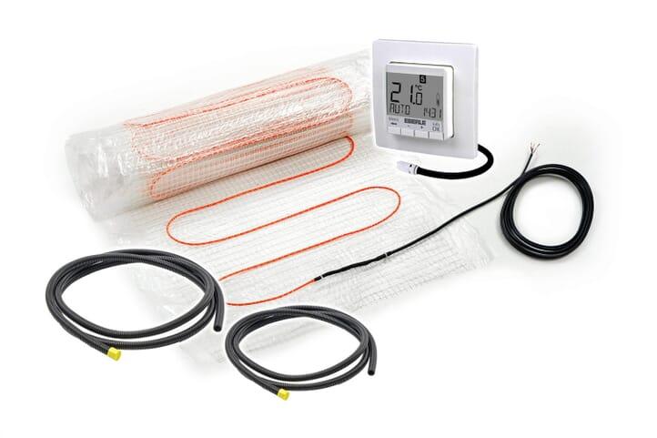 4teilges Set  - SFX® Elektrische Dünnbettheizmatte 160 Watt/m²  Fußbodenheizung 0,5m² - 18m² inkl.  & digitalem Thermostat & 2x Fühlerrohr 2m